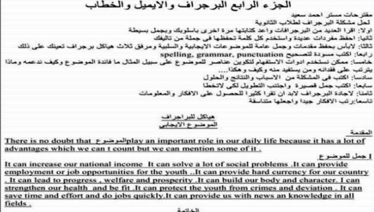 مذكرة مهارات كتابة البرجراف والايميل والخطاب 20 ورقة رائعة 6622