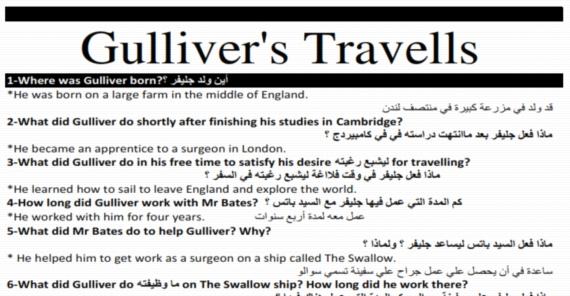 افضل مراجعة لقصة Gulliver's Travells للثاني الثانوي ترم اول مستر رافت معلاوي 685