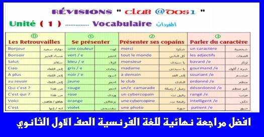 المراجعة النهائية في للغة الفرنسية للصف الاول الثانوى ترم اول 25 ورقة تحفة لمسيو السيد الدمرداش 692