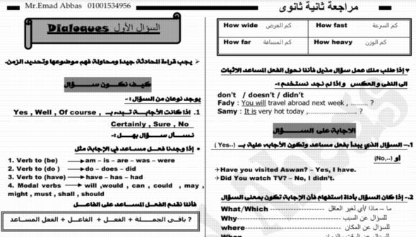 أفضل مراجعة لغة انجليزية للثاني الثانوى ترم ثانى مستر عماد عباس 7171
