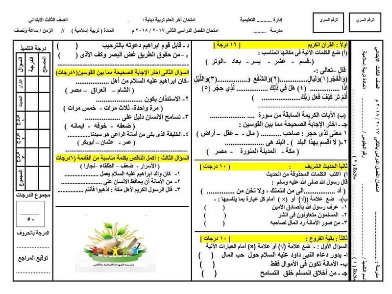 نماذج امتحانات الترم الثاني 2018 للصف الثالث الابتدائي في كل المواد 7191