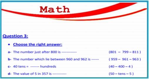 بوكليت مراجعة math للصف الثاني الإبتدائى لغات ترم أول 2018 بالاجابات 922