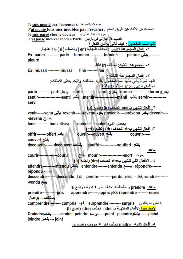 مراجعة قواعد اللغة فرنسية للثالث الثانوي (composé Passé)  مسيو اسامة فرغلى  New_mi13