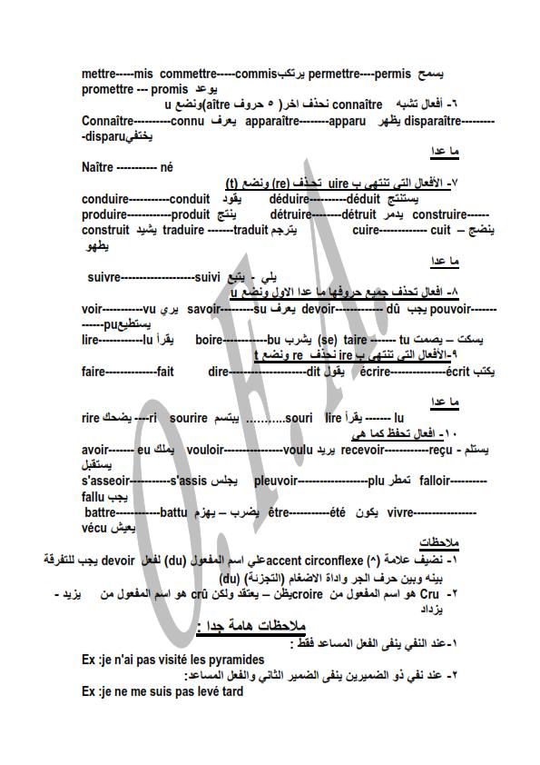 مراجعة قواعد اللغة فرنسية للثالث الثانوي (composé Passé)  مسيو اسامة فرغلى  New_mi14
