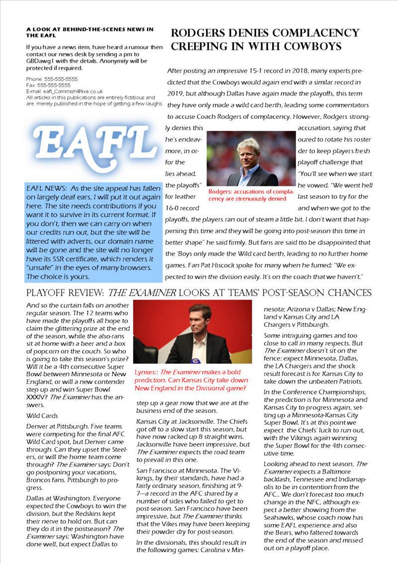 The EAFL Examiner, Season 34, Issue 1 Eafl_e13