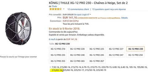 K/ÖNIG XG-12 PRO 240 Cha/înes /à Neige Set de 2