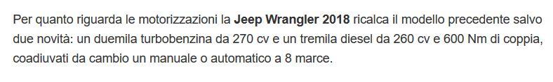 previsioni data di lancio e motori wrangler JL in italia 201810