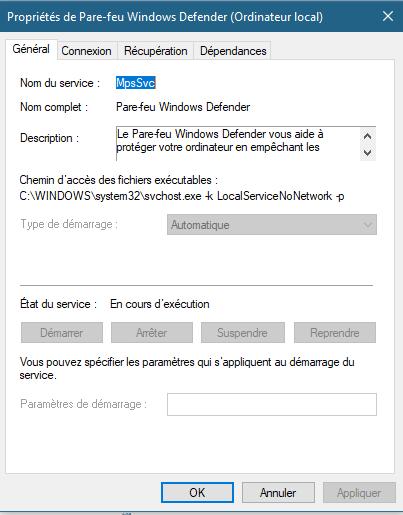 Windows defender paramètre grisé Captur10