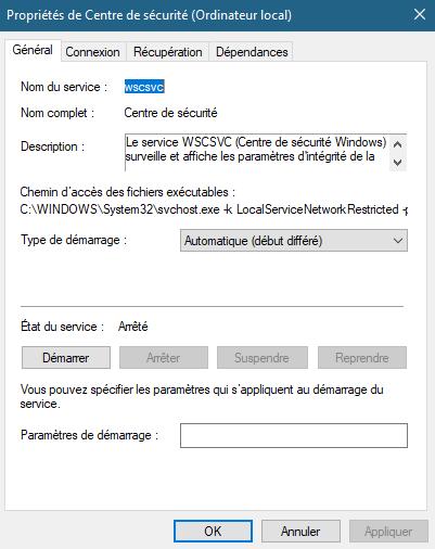 Windows defender paramètre grisé Captur11