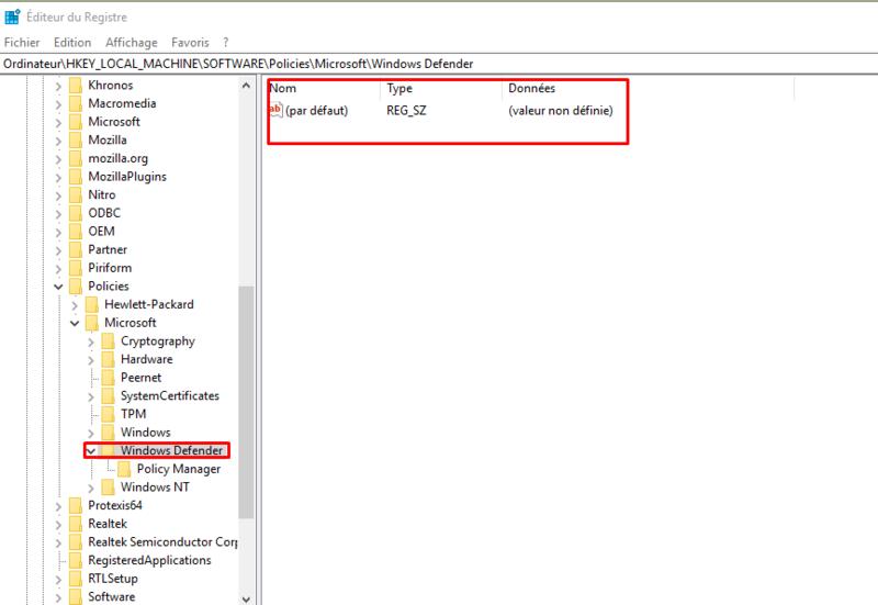Windows defender paramètre grisé Captur15