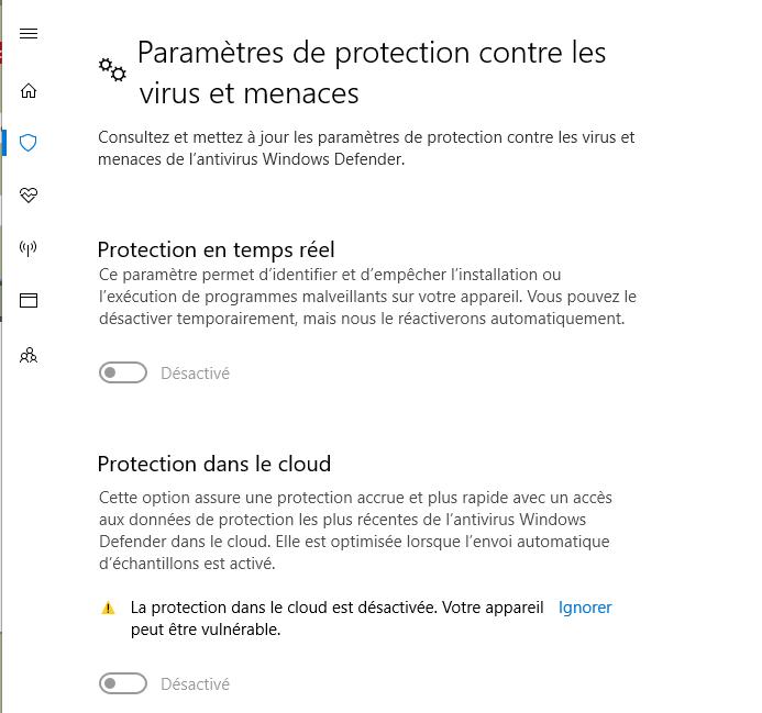Windows defender paramètre grisé Window10