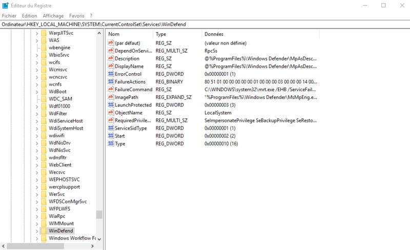 Windows defender paramètre grisé Window11