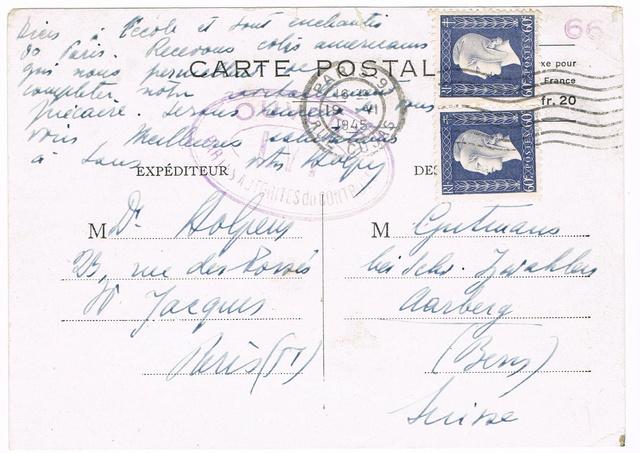 Cachet «  OUVERT  PAR  LES  AUTORITES  DU  CONTROLE »  de Lyon  sur carte postale Ccf02112