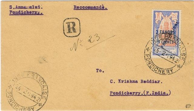 """Lettre locale de Pondichery de 1942 avec au verso un cachet """"Gouvernement de l'Inde Française"""". Ccf05012"""