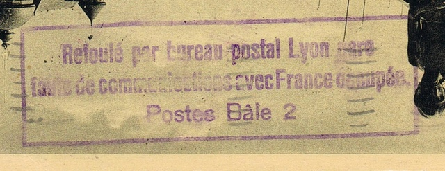 """Cachet """" Refoulé par bureau postal Lyon gare """". Ccf12013"""
