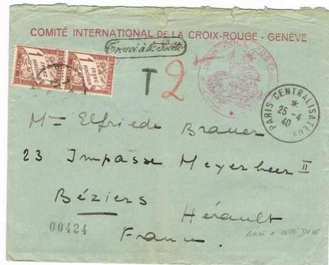 Enveloppe à en-tête Comité International de la Croix-Rouge Genève , TAD  24.4.40   PARIS CENTRALISATEUR  » . Taxée à 2 F Ccf18012