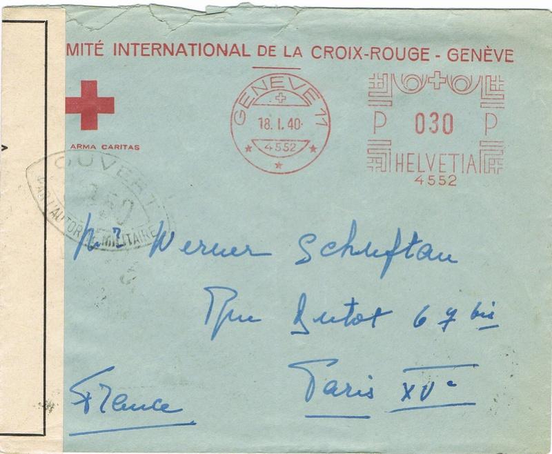 Enveloppe à en-tête Comité International de la Croix-Rouge Genève , TAD  24.4.40   PARIS CENTRALISATEUR  » . Taxée à 2 F Ccf28110