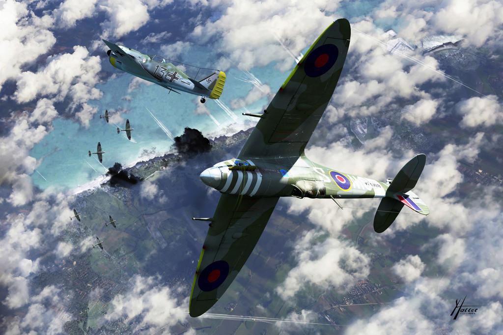 spitfire au dessus de la Manche Dupyri10