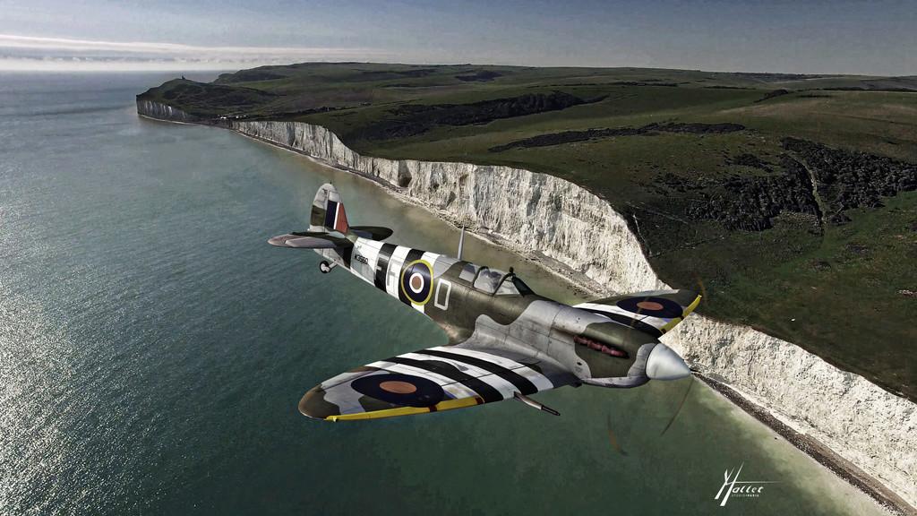 spitfire au dessus de la Manche Spitmk10