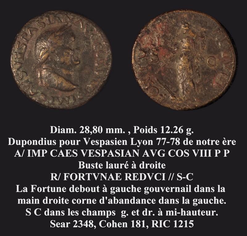 """Quelle dénomination pour Vespasien lauré ? ... """"Dupondius"""" 2013_010"""