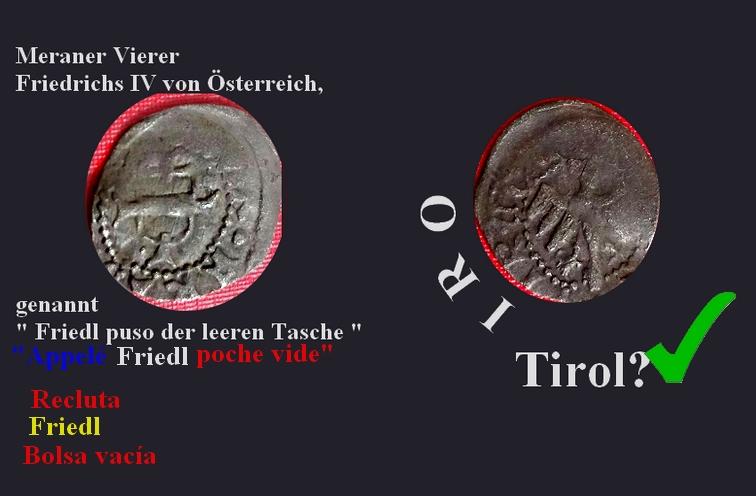 """Petite pièce ... ¼ de Menarer de Frédéric IV d'Autriche """"à la bourse vide"""" (1406-1439)  Jeroni10"""