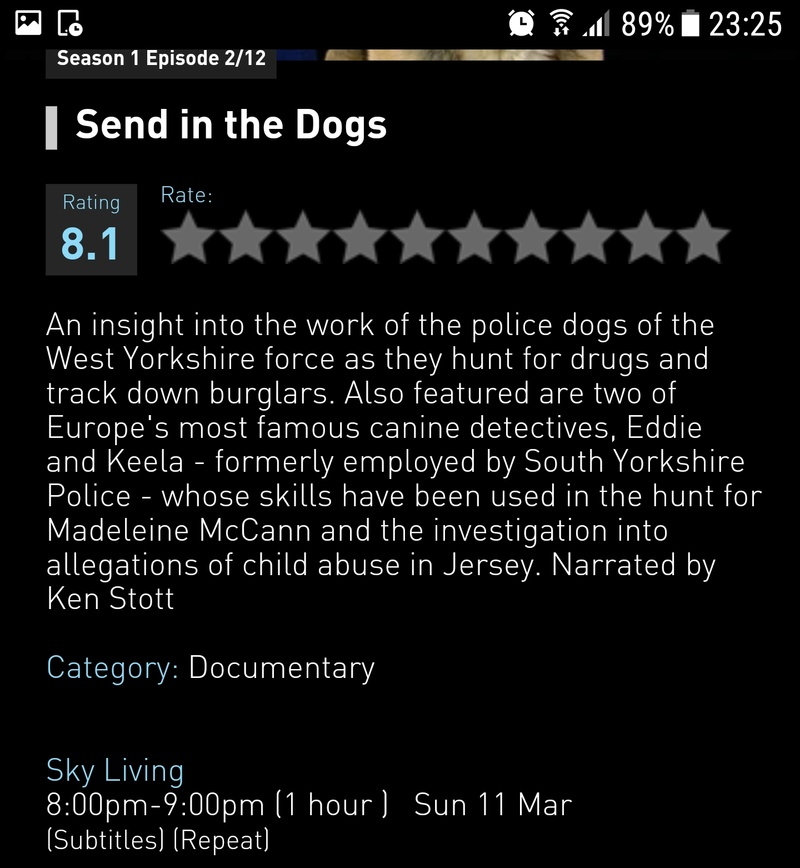 """""""Send in the dogs"""" on Sky Living, Sun 11/3 Screen51"""