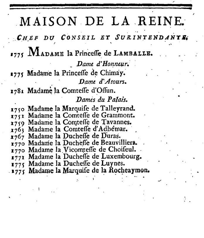 Maison et dames du Palais de la reine Marie-Antoinette - Page 7 Almana10