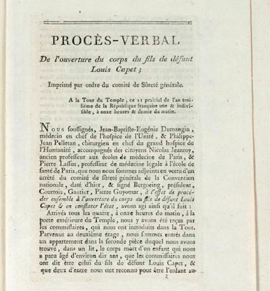 Madame de Tourzel, le corps et la sépulture de Louis XVII Autops10
