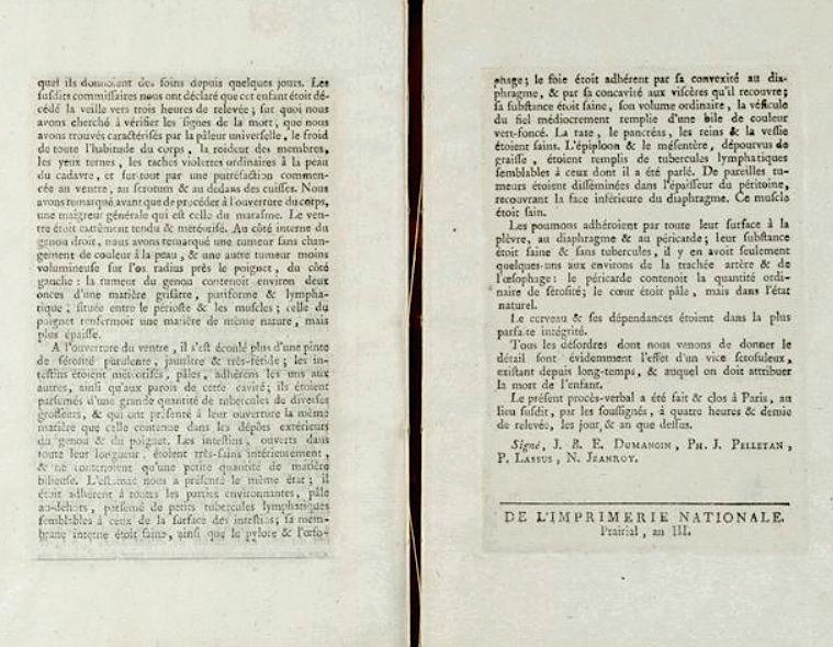 Madame de Tourzel, le corps et la sépulture de Louis XVII Autops12