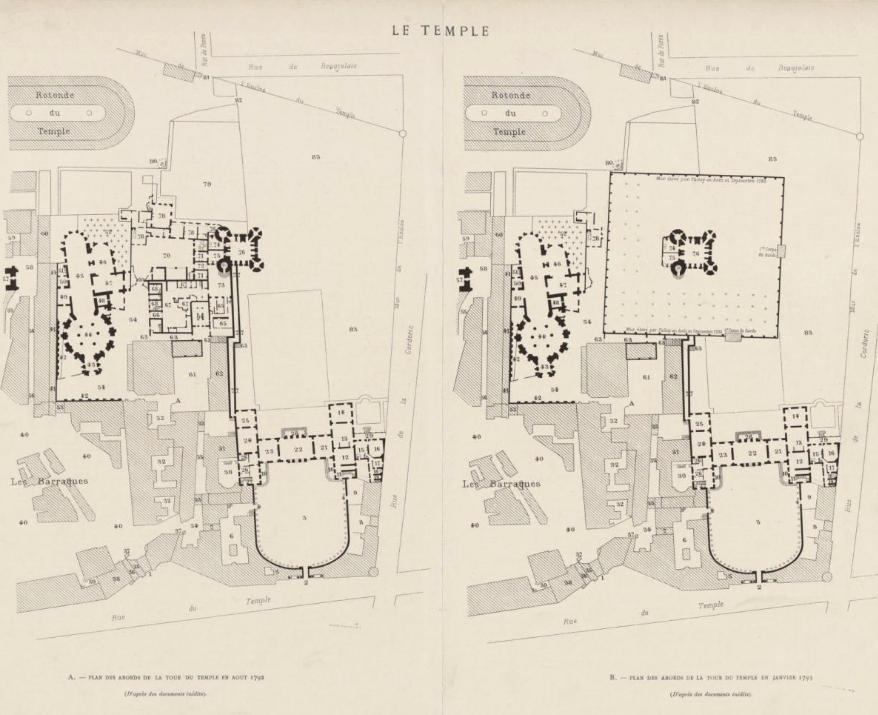 Plans et aménagements du donjon du Temple : la grande tour, la petite tour Captu169