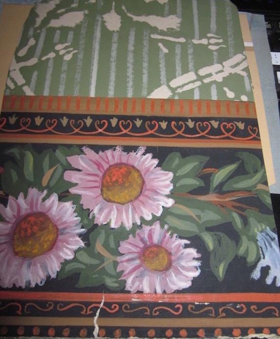 Les papiers peints de la prison du Temple Chambr15
