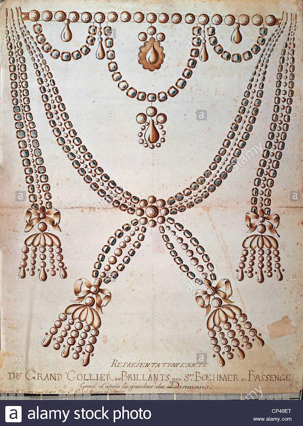 Le collier dit de la reine Marie-Antoinette (L'affaire du collier de la reine), et ses répliques Cp49et10
