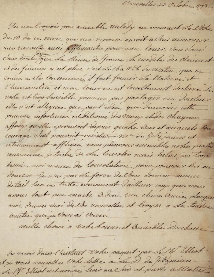 Lettre de Fersen à Elisabeth Foster : la mort de Marie-Antoinette Lettre11
