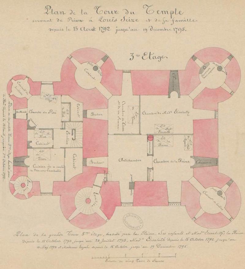 Plans et aménagements du donjon du Temple : la grande tour, la petite tour Plan_d10
