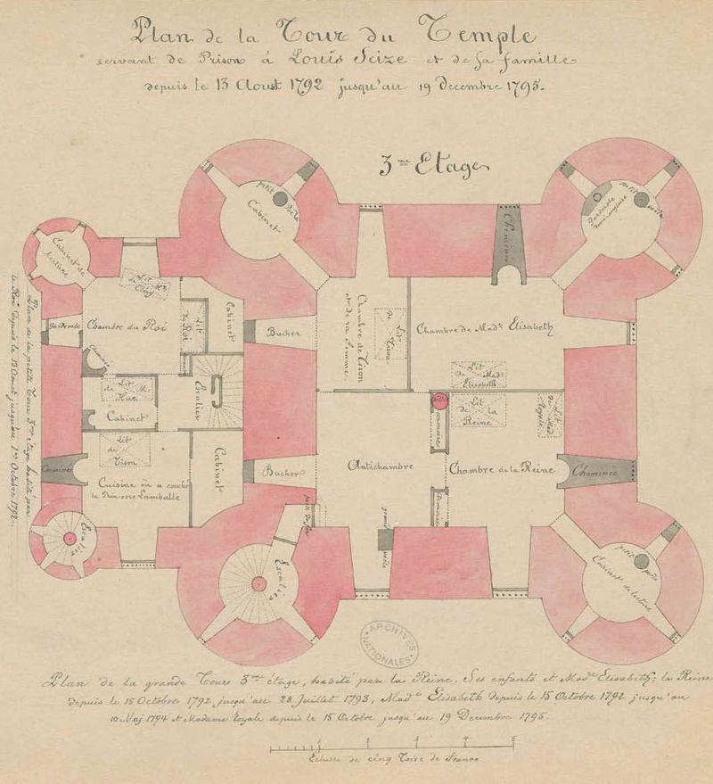 La famille royale à la prison du Temple : plans et aménagements - Page 3 Plan_d11
