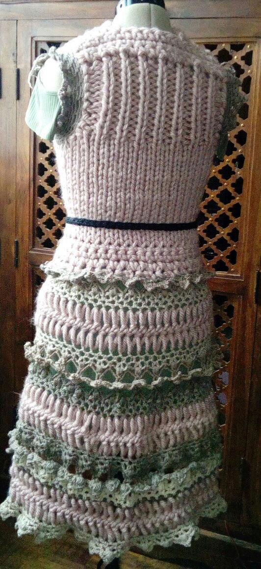 Fourche Crochet : Robe Manteau grosse Laine Rose Poudrée  Rose_p10