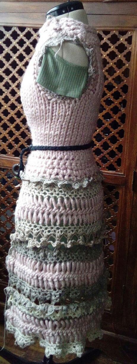 Fourche Crochet : Robe Manteau grosse Laine Rose Poudrée  Rose_p11