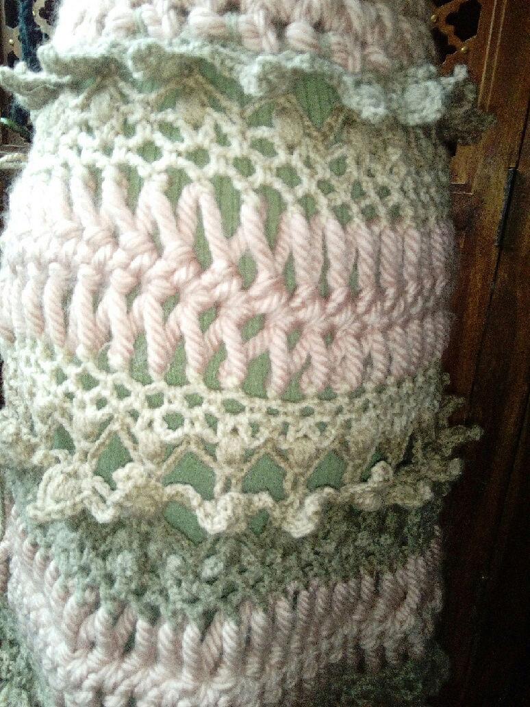 Fourche Crochet : Robe Manteau grosse Laine Rose Poudrée  Rose_p12