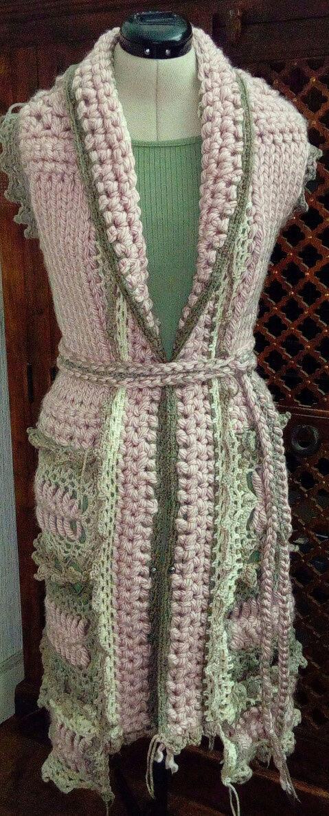 Fourche Crochet : Robe Manteau grosse Laine Rose Poudrée  Rose_p13