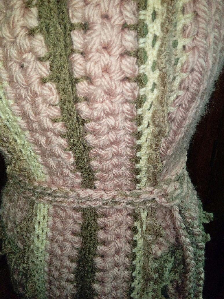 Fourche Crochet : Robe Manteau grosse Laine Rose Poudrée  Rose_p14