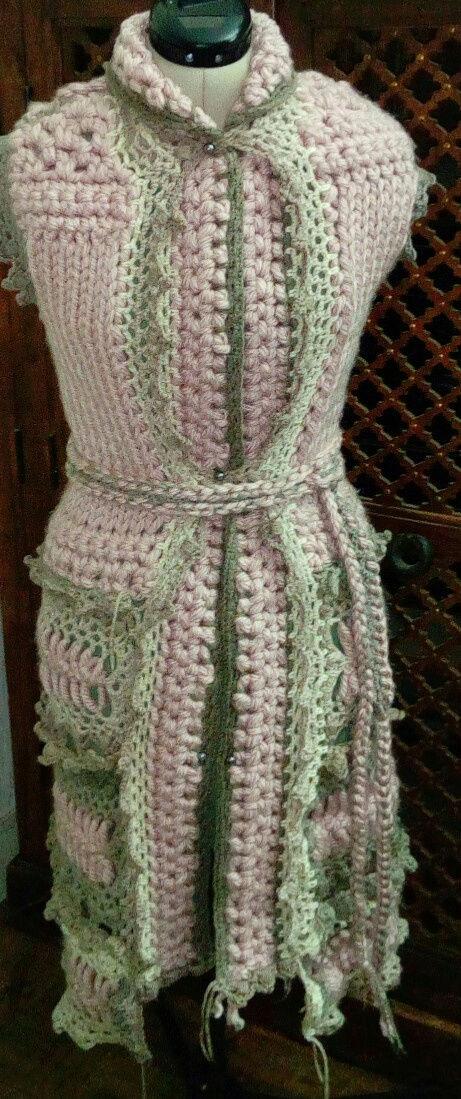 Fourche Crochet : Robe Manteau grosse Laine Rose Poudrée  Rose_p15