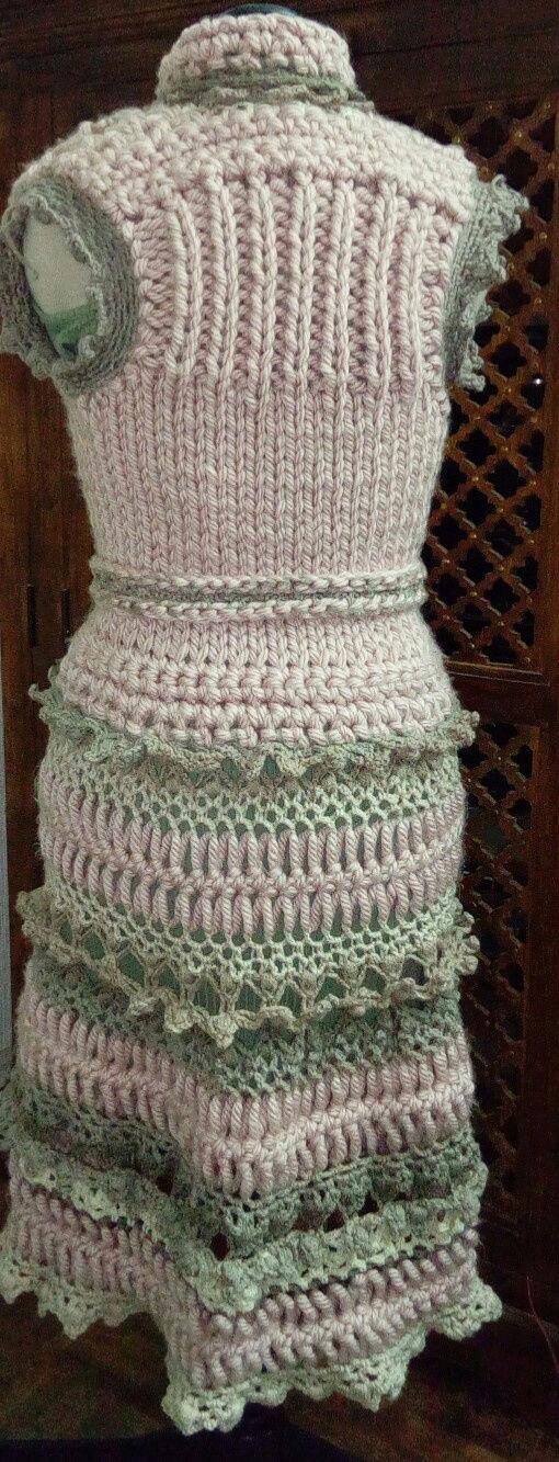 Fourche Crochet : Robe Manteau grosse Laine Rose Poudrée  Rose_p16