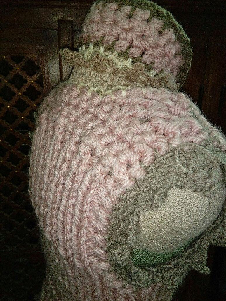 Fourche Crochet : Robe Manteau grosse Laine Rose Poudrée  Rose_p17