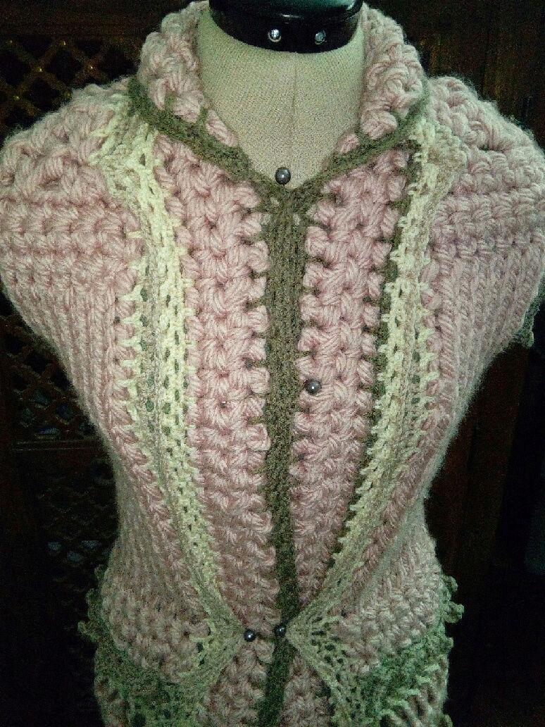 Fourche Crochet : Robe Manteau grosse Laine Rose Poudrée  Rose_p18