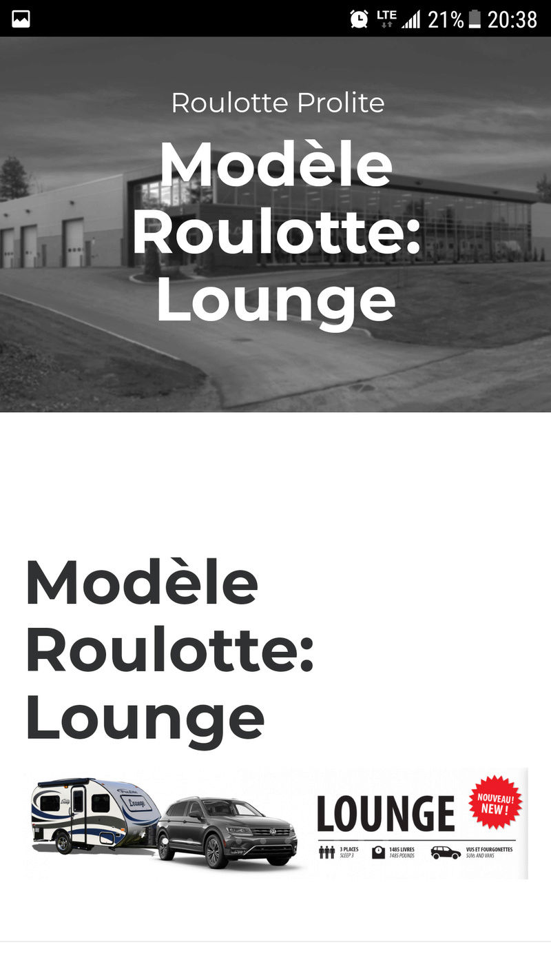 Spécifications de la Lounge  Screen12