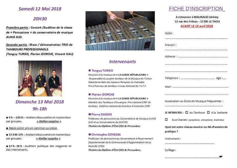 Ateliers Percussions et masterclass Tambour - 13/05/2018 - Le Thou (17) Plaque11