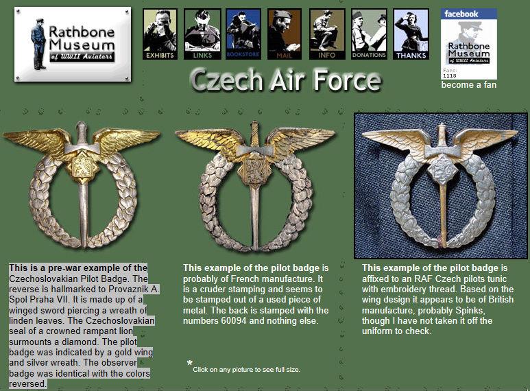 identification RARISSIME badge pilote tchèque WW2 Fd11