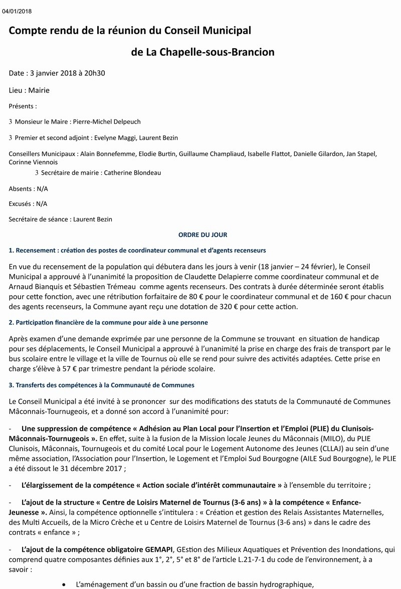 Compte rendu de la réunion du Conseil Municipal de La Chapelle-sous-Brancion  Date : 3 janvier 2018 à 20h30 110