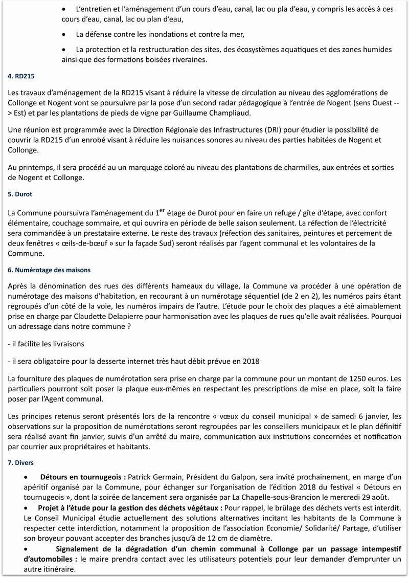Compte rendu de la réunion du Conseil Municipal de La Chapelle-sous-Brancion  Date : 3 janvier 2018 à 20h30 210