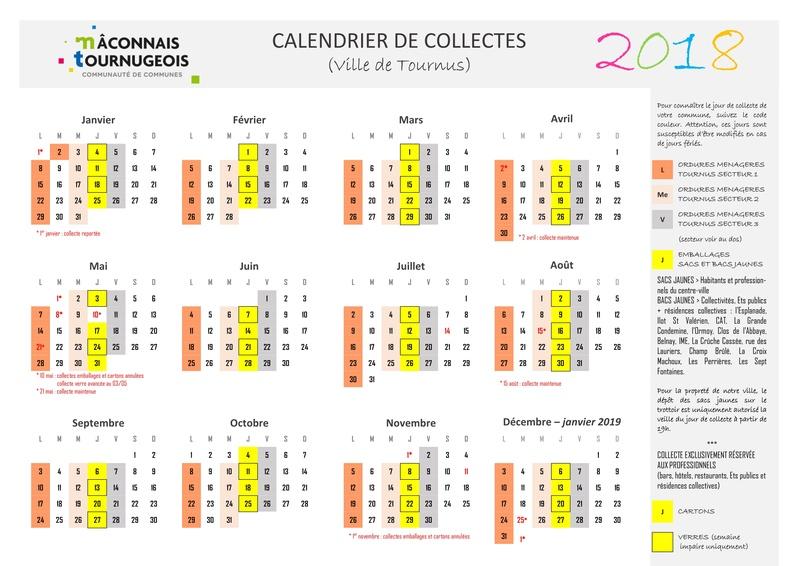 Calendrier des collectes 211